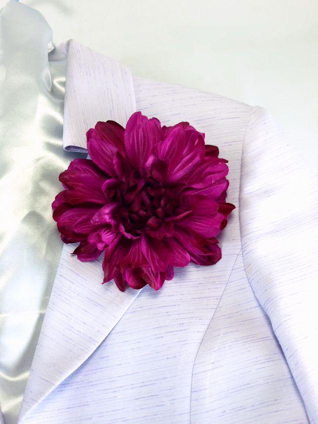 コサージュ&髪飾り(両用タイプ)(ブライトダリア/ワインパープル)