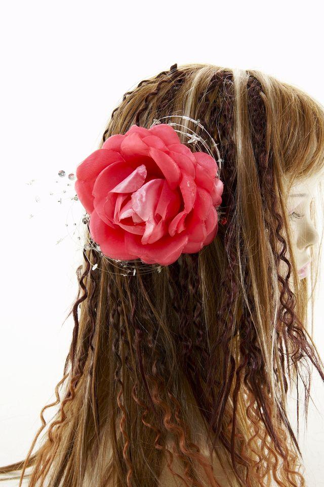 【SALE ヘアアクセサリー】ローズ髪飾り(ローズピンク)/コームタイプ